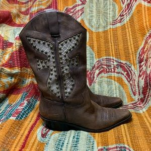 Matisse Leather Cowboy Boots Studded Size 7 M